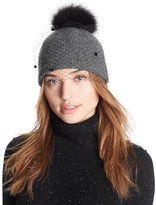 Helene Berman Knit Hat with Veil & Fox-Fur Pom-Pom