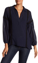 Line & Dot Renee Poet Split Neck Blouse
