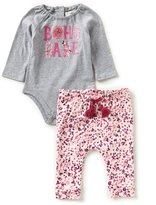 Jessica Simpson Baby Girls Newborn-9 Months Brushed Jersey Bodysuit & Printed French Terry Pant Set