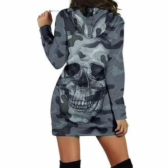 Moent Women Clothes Moent Women's Long Sleeve Gradient Fashion Hoodie Sweater Skirt Fashion Women Long Sleeve Casual Hooded Camouflag Skull Print Mini Dress Gray