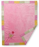 Bacati Girls Stripes and Plaids Soft Velour Blanket with Embroidery