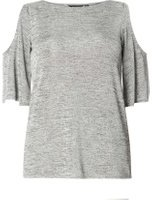 Dorothy Perkins Womens Silver Jersey Cold Shoulder Top- Silver