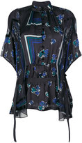Sacai geometric and floral print sheer blouse - women - Polyester - 3