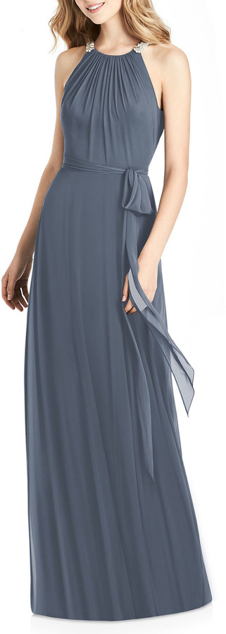 Jenny Packham Bridesmaids Luxe Chiffon Halter Gown with Beaded Trim