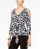 Thalia Sodi 3/4 Sleeve Tie-Front Top, Created for Macy's