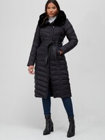 Thumbnail for your product : Very Faux Fur Trim Hooded Padded Coat - Black