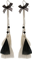 Miso Feather and Bow Earrings