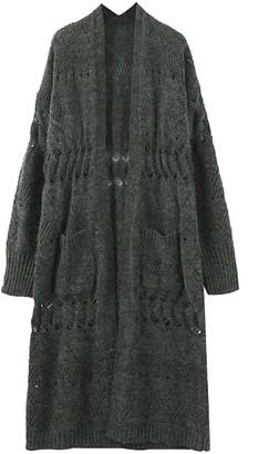 Goodnight Macaroon 'Mokita' Open Knit Loose Fit Long Cardigan (2 Colors)