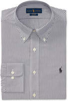 Polo Ralph Lauren Men's Classic/Regular Fit Easy-Care Charcoal/White Stripe Oxford Dress Shirt