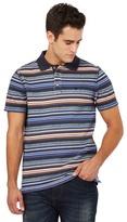 Mantaray Big And Tall Blue Striped Print Pique Polo Shirt