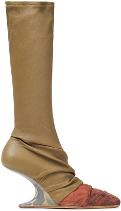 Rick Owens Draped Distressed Smooth And Stretch-leather Boots