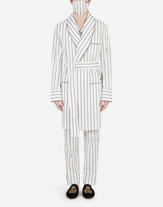 Dolce & Gabbana Double-Stripe Robe With Matching Face Mask