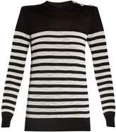 Balmain Button-embellished striped sweater