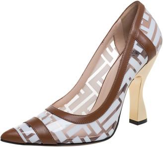 Fendi White/Brown Zucca PVC and Leather Trim Colibri Pointed Toe Pumps Size 37.5