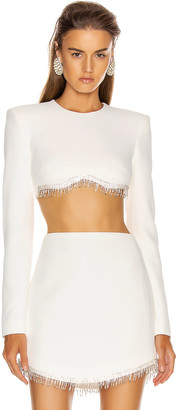 David Koma Crystal Chain Long Sleeve Empire Top in White & Silver | FWRD