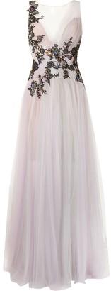 Marchesa Floral-Applique Tulle Gown