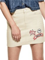 GUESS Patched Denim Mini Skirt