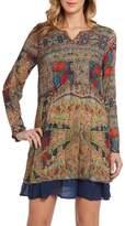 Kaktus Women's Long Sleeve Lined Abstract Print Plus Size Tunic Dress