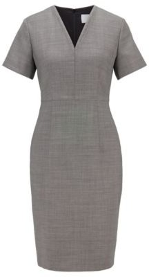 HUGO BOSS Shift Dress In Stretch Fabric With Birdseye Pattern - Patterned