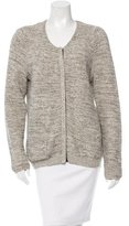 Sandro Metallic-Accented Leather-Trimmed cardigan