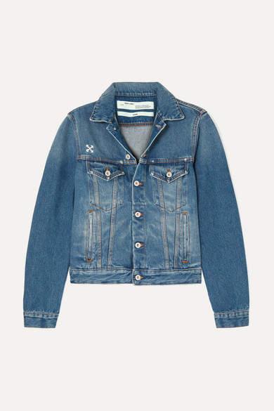 Off-White Distressed Appliquéd Denim Jacket - Blue