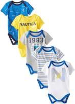 Nautica Baby Boys' Newborn Five-Pack Bodysuits, Blue, 6-9 Months