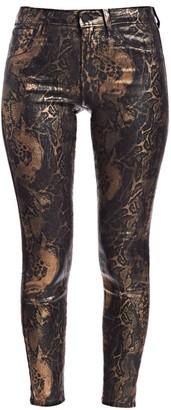 L'Agence Margot High-Rise Ankle Skinny Foil Python-Print Jeans