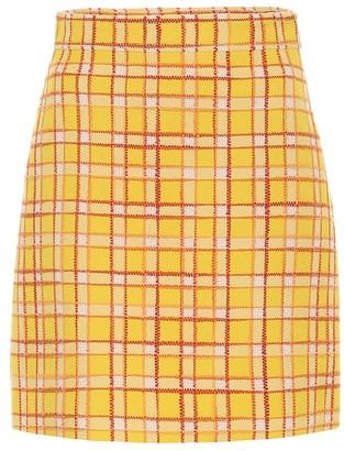 Gucci Checked wool tweed miniskirt