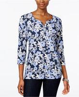 Karen Scott Petite Floral-Print Henley Top, Only at Macy's
