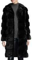 Oscar de la Renta Horizontal Stripe Mink Fur Stroller Coat, Navy/Black