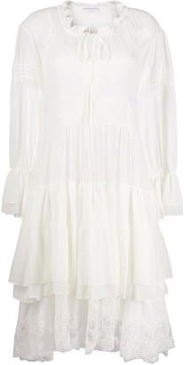 Ermanno Scervino Flared Lace-Hem Day Dress