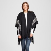 Sylvia Alexander Women's Ruana Wrap with Side Print Black