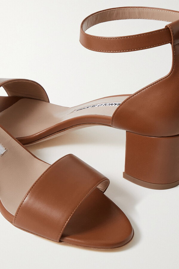 Thumbnail for your product : Manolo Blahnik Lauratomod 50 Leather Sandals - Brown