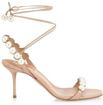 Aquazzura Mae Faux Pearl-Embellished Lace-Up Leather Sandals