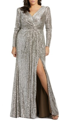 Mac Duggal Sequin Long Sleeve Gown