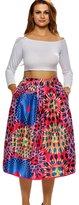 YiJee Womens Vintage High Waist Paisley A-lined Midi Knee Skirt M