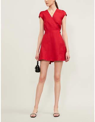 Reformation Rodin Wrap-Over Linen Mini Dress