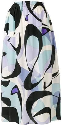 Emilio Pucci Alex Print Silk Midi Skirt