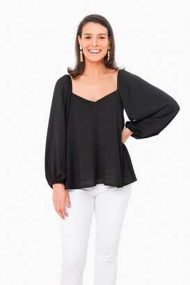 Pomander Place Black Pippa Puff Sleeve Blouse