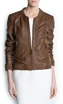 MANGO Outlet Leather Bomber Jacket