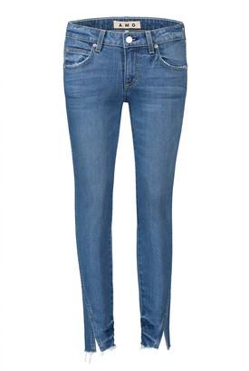 Amo Twist Frayed Split Hem Skinny Jeans