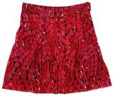 Vivienne Tam Red & Black Print Pleated Skirt