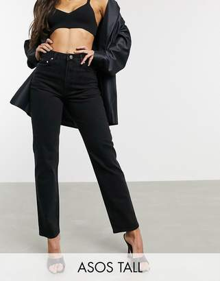 Asos Tall DESIGN Tall High rise stretch 'slim' straight leg jeans in black