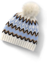 Lands' End Women's Winter Fair Isle Hat-Soft Sky Blue Fairisle