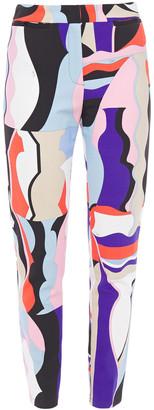 Emilio Pucci Cropped Printed Stretch-ponte Slim-leg Pants