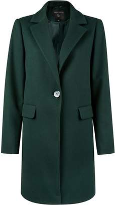 Dorothy Perkins Womens Green Button Front Coat, Green