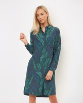 Jaeger Banana Leaf Print Dress