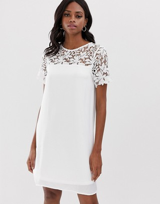 Vila lace yoke shift mini dress