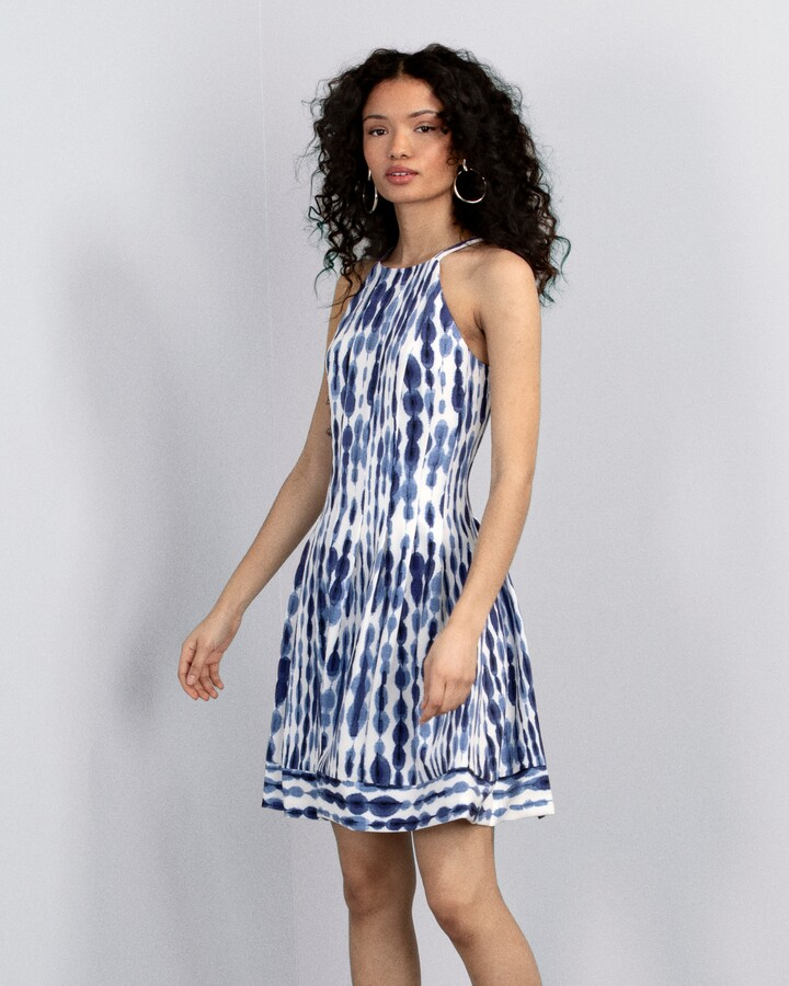 Vince Camuto Tie-Dye-Print Fit & Flare Dress