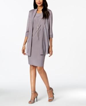 R & M Richards Necklace Dress & Metallic-Trim Jacket